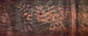 Pecan leaves on wool