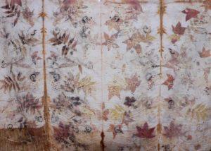 Autumn leaves on wool